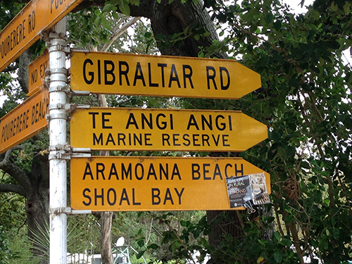 Signs to help filmgoers find their way along the gravel road to Aramoana.