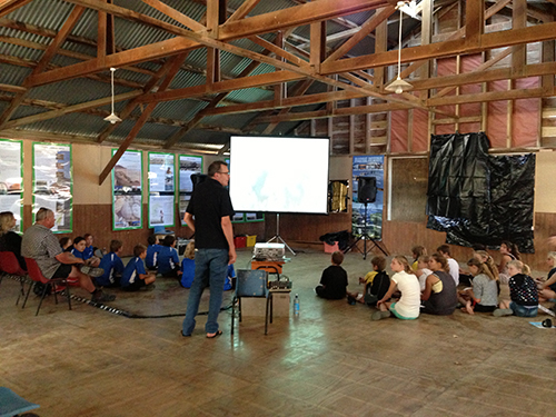 Alex with local schools, at Aramoana Woolshed.