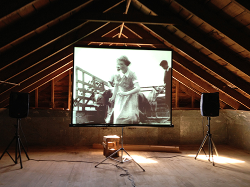 "The ""cinema"" in Maraekakaho Woolshed."
