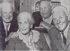 Helen Marion Barnard in April 1965, on her 100th birthday, with her surviving sons, Frank, Jim and Joe. [photo courtesy of Winsome Griffin]