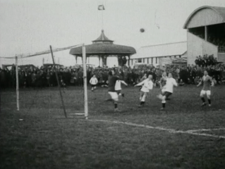 Soccer game in play. Featured in Auckland Topical News: Association Football.  (1924) [Film Archive Ref: F10480]