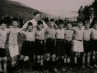 Alhambra Footballers Club Day - a school rugby team (1929). Featured in Empire De Luxe News. [Film Archive Ref: F8572]