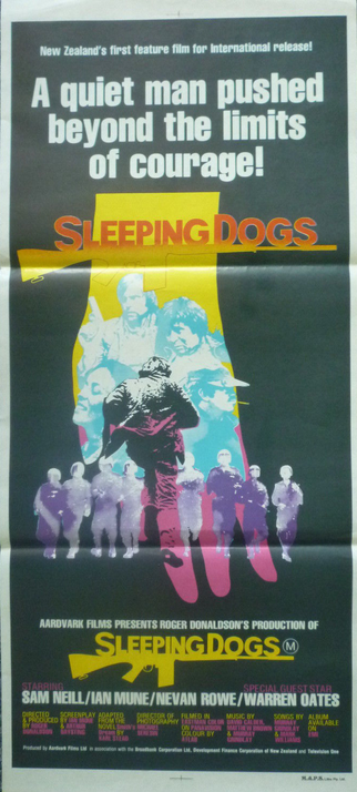 The original 1977 poster for NZs original blockbuster, and first US distributed film: Sleeping Dogs