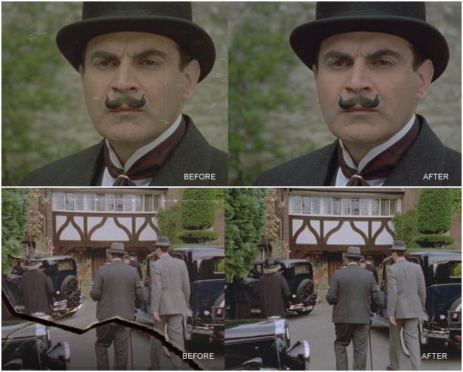 "Screencaptured images showing ITV's 'Poirot' (16mm, 1989)  before and after ARRISCAN treatment. <br />  Read the full article on POIROT's restoration on <a title=""ARRI Group"" href=""http://www.arri.de/DE/news/news/little-grey-cells/"">ARRI's website</a>, which also lays out the tech-specs. <br />  <i> 'The development of the ARRISCAN film scanner enables high-resolution, high-dynamic range, pin-registered film scanning for use in the digital intermediate process."" Representing the first step in transferring film images into the digital realm, the ARRISCAN enables practically limitless creative possibilities in the DI. It utilises a specially designed CMOS area sensor mounted on a micro-positioning platform and a custom LED light source.'</i>"