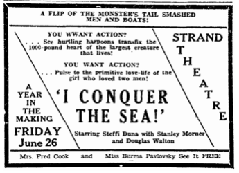 Lurid advertisement for I Conquer The Sea. Marietta Journal (Marietta GA) 25 June 1936 p1.