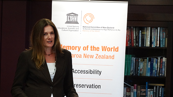 Karen Neill (Head of Partnerships, Ngā Taonga Sound & Vision) speaks at the ceremony for the inscription.
