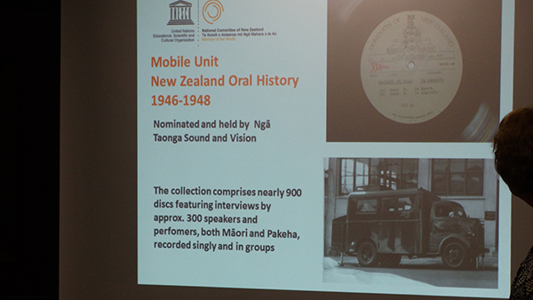 Presentation on the New Zealand Oral History 1946-1948 collection at the inscription ceremony.
