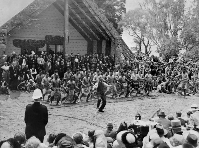Apirana Turupa Ngata leading a haka at the 1940 centennial celebrations, Waitangi. Ref: MNZ-2746-1/2-F. Alexander Turnbull Library, Wellington, New Zealand. http://natlib.govt.nz/records/23012205