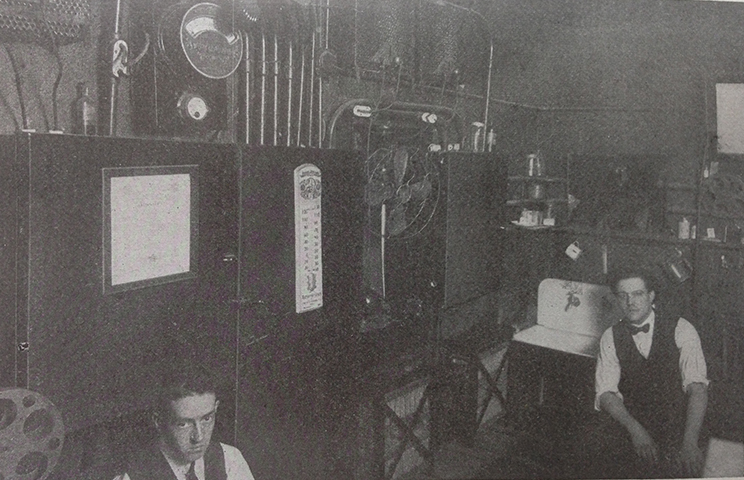 The projection room at the Monarch Theatre, in Clevland, Ohio. Motion Picture Handbook, p. 247.
