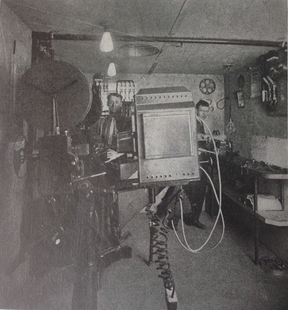 The projection room at the Park Theatre, Bangor. Motion Picture Handbook, p. 244.