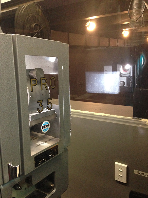 Projecting 35mm film in the Ngā Taonga Sound & Vision projection booth.