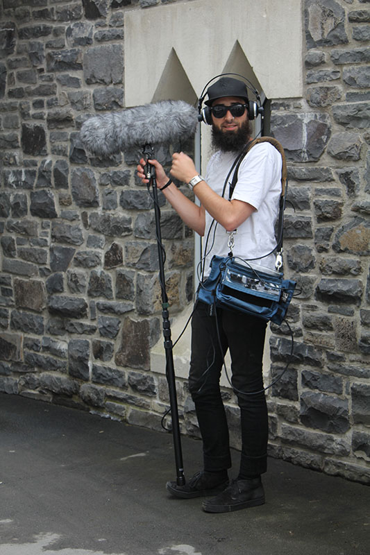 Soundie Alex Wootton, on location, Christ's College grounds, Christchurch. (Photo by Alex Porter)