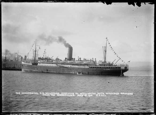 Aldersley, David James, 1862-1928. Willochra, Her Majesty's New Zealand Transport no 14, arriving in Wellington with wounded soldiers from Gallipoli, Turkey - Photograph taken by D J Aldersley. Dickie, John, 1869-1942 :Collection of postcards, prints and negatives. Ref: 1/2-016768-G. Alexander Turnbull Library, Wellington, New Zealand. http://natlib.govt.nz/records/22793739