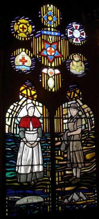 Stained glass memorial window in the Christchurch Nurses Memorial Chapel – WWI nurse on the left above an image of the Marquette. (Image courtesy of Friends of the Nurses Memorial Chapel)