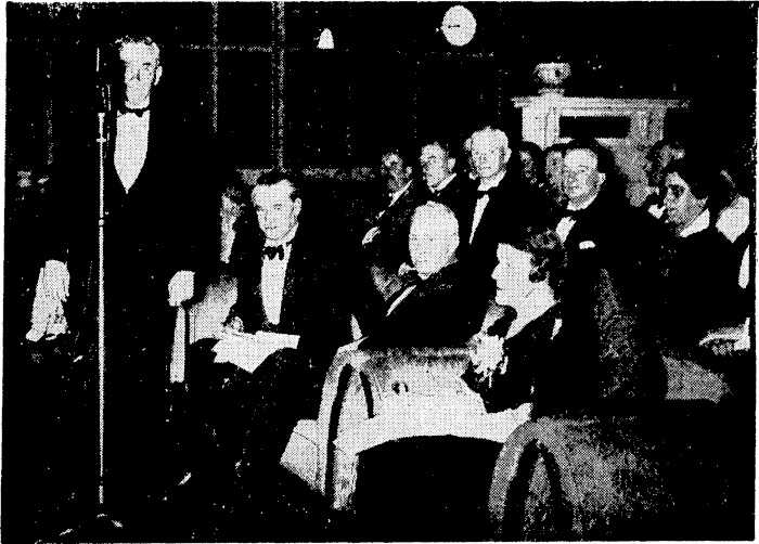 Rt Hon M.J. Savage (left) declaring the new 60-kilowatt transmitting station at Titahi Bay officially opened. Evening Post, 26 Jan 1937. (Courtesy Papers Past).