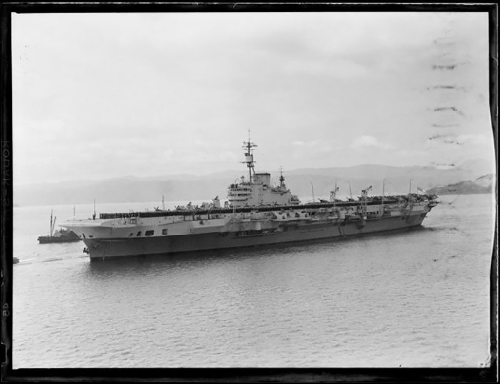 British aircraft carrier Indefatigable, Wellington Harbour. Raine, William Hall, 1892-1955. Ref: 1/4-020662-F. Alexander Turnbull Library, Wellington, New Zealand. http://natlib.govt.nz/records/23204493