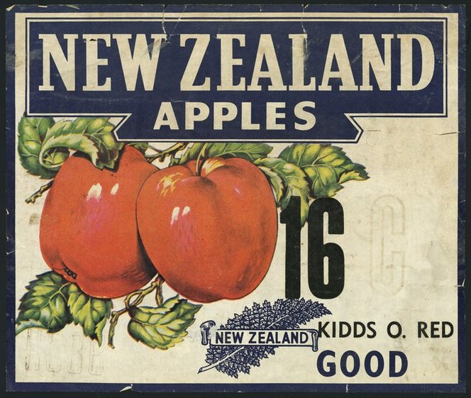 Image: New Zealand apples; Kidds O. Red 16. Good [Apple case label. 1940-60s]. Ref: Eph-B-FRUIT-1940/60-08. Alexander Turnbull Library, Wellington, New Zealand. http://natlib.govt.nz/records/23016982