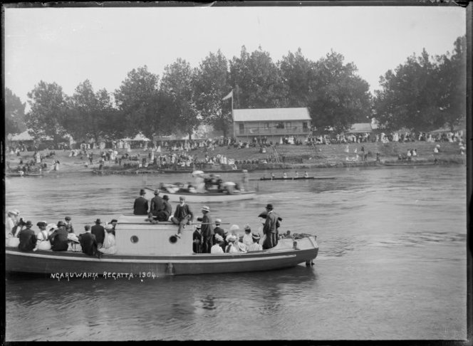 Regatta on the Waikato River at Ngaruawahia, circa 1910. Price, William Archer, 1866-1948. Alexander Turnbull Library, Wellington, New Zealand. http://natlib.govt.nz/records/22846494