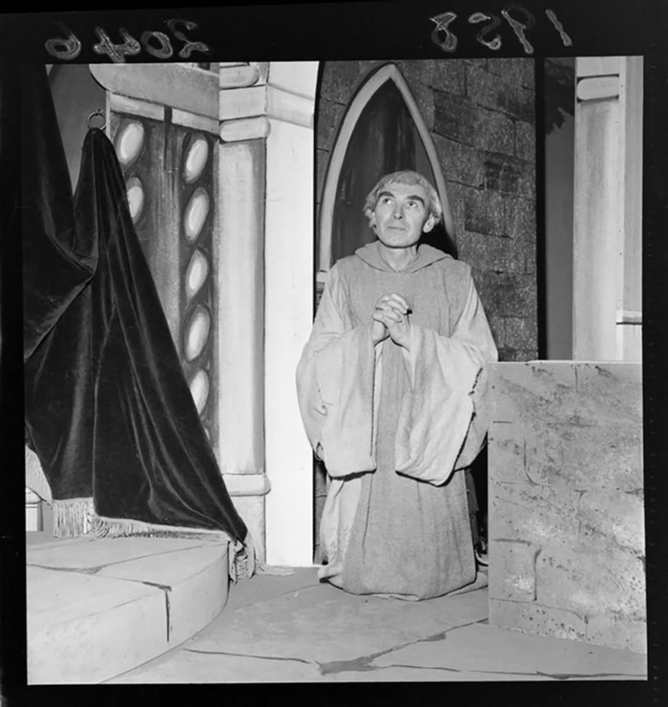 "[Basil Clarke] in the New Zealand Players production of ""Romanoff and Juliet."" Negatives of the Evening Post newspaper. Ref: EP/1958/2046-F. Alexander Turnbull Library, Wellington, New Zealand. http://natlib.govt.nz/records/22702922"