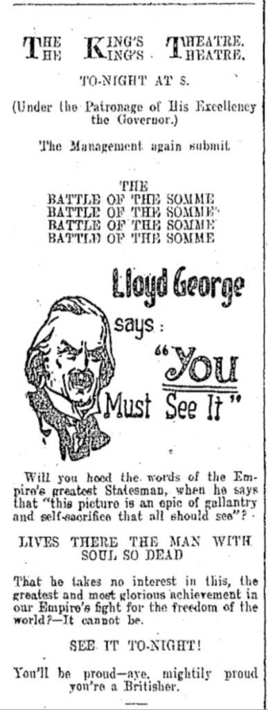 "Advert for ""The Battle of The Somme"" in ""The Dominion,"" 18 October 1916, p.7. Image: Papers Past."