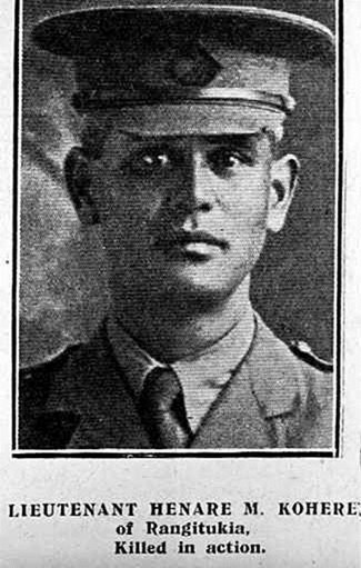"Lieutenant Hēnare Mokena Kōhere, of the 2nd Māori Contingent, New Zealand Māori Pioneer Battalion. Died of wounds in France on 16 September 1916. (Photo: ""Auckland Weekly News"")"