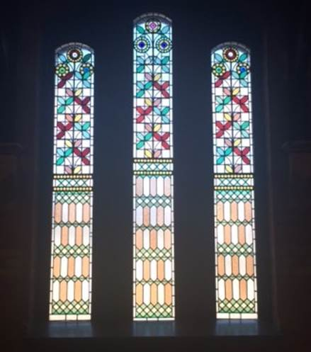 Original 1877 stained glass windows in the restored part of the Christchurch Arts Centre.