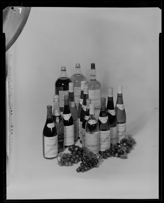 Range of Nobilos wines. K E Niven and Co :Commercial negatives. Ref: 1/2-228835-F. Alexander Turnbull Library, Wellington, New Zealand. http://natlib.govt.nz/records/22695076