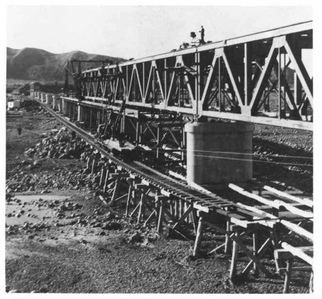 View of the Clarence Bridge under construction, Main Trunk Line, Marlborough. 1940. Evening Post newspaper http://natlib.govt.nz/records/23120313