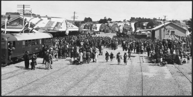 Arrival of the first passenger train to Kaikoura, 1945. Evening Post newspaper http://natlib.govt.nz/records/23104596