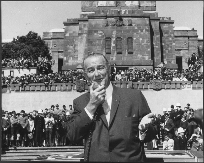 United States President Lyndon Johnson speaking to crowds at the National War Memorial, Buckle Street, Wellington, during his visit to New Zealand. Photograph taken 20 October 1966 by an Evening Post staff photographer. http://natlib.govt.nz/records/22879474