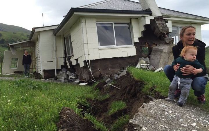 A house at Bluff Station between Blenheim & Kaikoura, which is right on the Kekerengu fault line, was demolished by the shakes (photo: RNZ / Alex Perrottet)