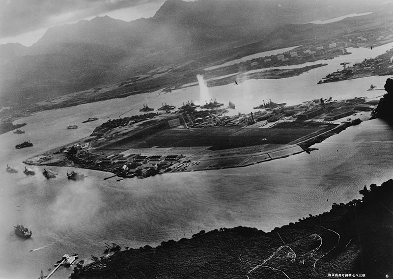 Photograph taken from a Japanese plane during the attack [Public domain image - Wikimedia Commons]
