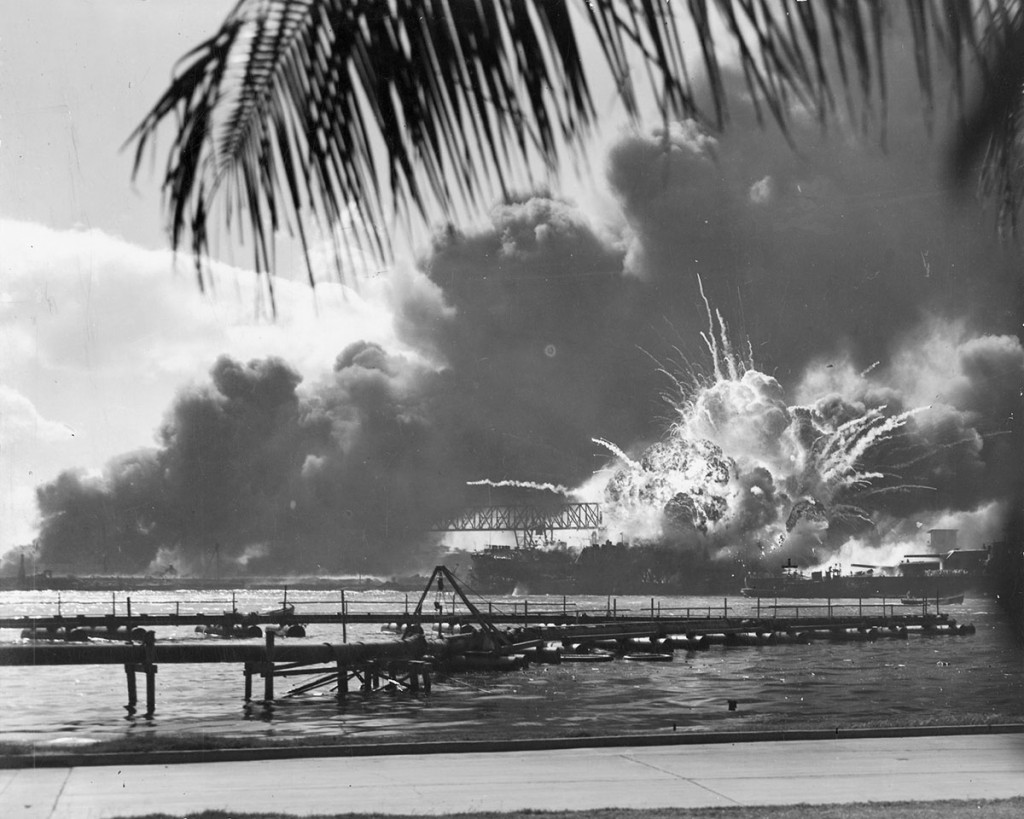 USS Shaw exploding Pearl Harbor 07 Dec 1941 [public domain image - Wikimedia Commons]
