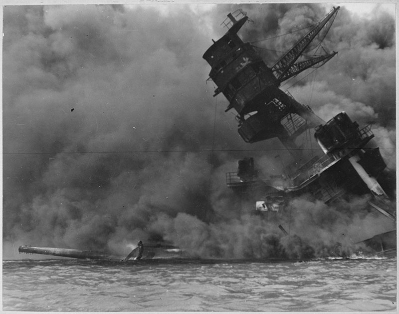 USS Arizona burning after the attack [public domain image - Wikimedia Commons]