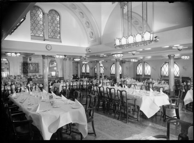 Dining room on the ship Wanganella. Raine, William Hall, 1892-1955: Negatives of New Zealand towns and scenery, and Fiji. Ref: 1/2-101225-G. Alexander Turnbull Library, Wellington, New Zealand. http://natlib.govt.nz/records/23048244