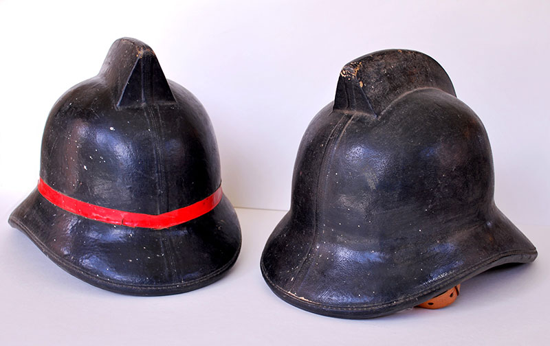 Helmets belonging to the Ahipara Women's Fire Brigade (photo courtesy of Te Ahu Museum and Archive, Kaitaia).