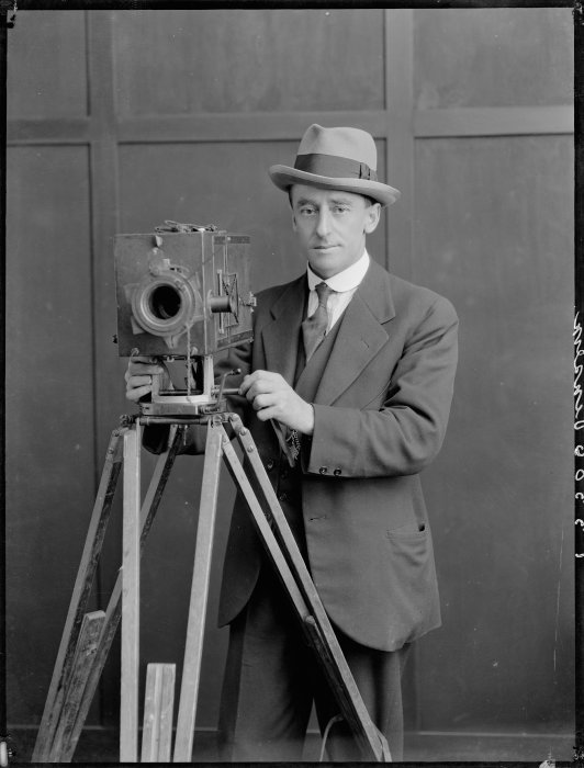 J S Vinsen with a motion picture camera. Tesla Studios: Negatives of Wanganui and district taken by Alfred Martin, Frank Denton and Mark Lampe. Ref: 1/1-017471-F. Alexander Turnbull Library http://natlib.govt.nz/records/22301776