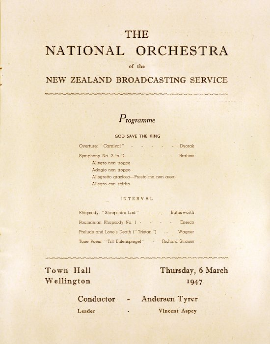 National Orchestra of the New Zealand Broadcasting Service: First season ... 1947. Wellington inaugural concert, Town Hall. Thursday March 6th. Souvenir programme. Ref: Eph-B-MUSIC-NO-1947-01-title. Alexander Turnbull Library http://natlib.govt.nz/records/23040179