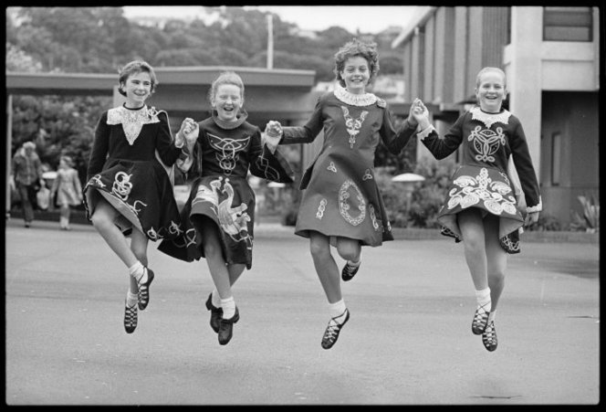 Dancers at the Irish National Feis, Kilbirnie, Wellington - Photograph taken by John Nicholson. Dominion post (Newspaper) :Photographic negatives and prints of the Evening Post and Dominion newspapers. Ref: EP/1986/5281/18-F. Alexander Turnbull Library, Wellington, New Zealand. http://natlib.govt.nz/records/23030957