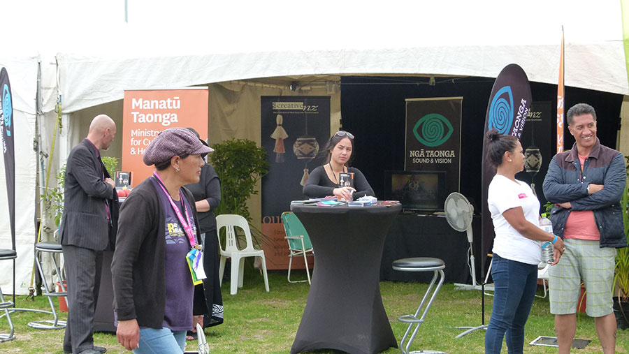 Ministry for Culture and Heritage Manatū Taonga and Ngā Taonga Sound & Vision's tent at Te Matatini 2017.