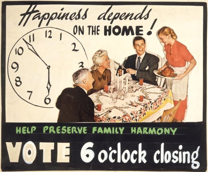 Happiness depends on the home! Help preserve family harmony. Vote 6 o'clock closing. [ca 1948].. Ref: Eph-C-ALCOHOL-Hours-1948-02. Alexander Turnbull Library, Wellington, New Zealand. /records/23085171
