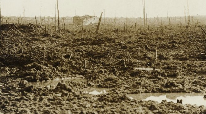 The remains of Remus Wood, near after shelling on 4th October 1917 [Alexander Turnbull Library]