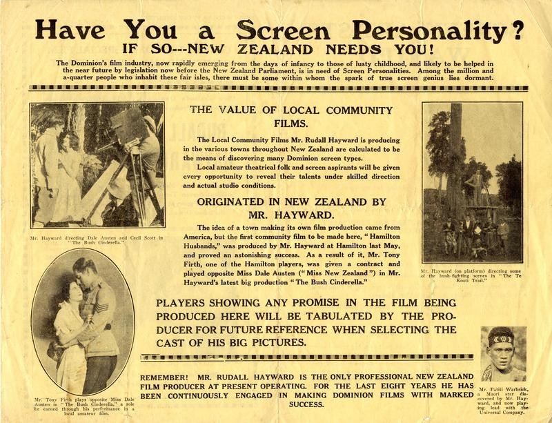 1920s advertisement for employment in film