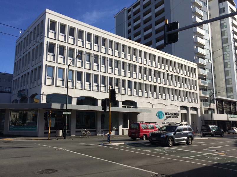 Ngā Taonga's building on the corner of Taranaki and Ghuznee Streets