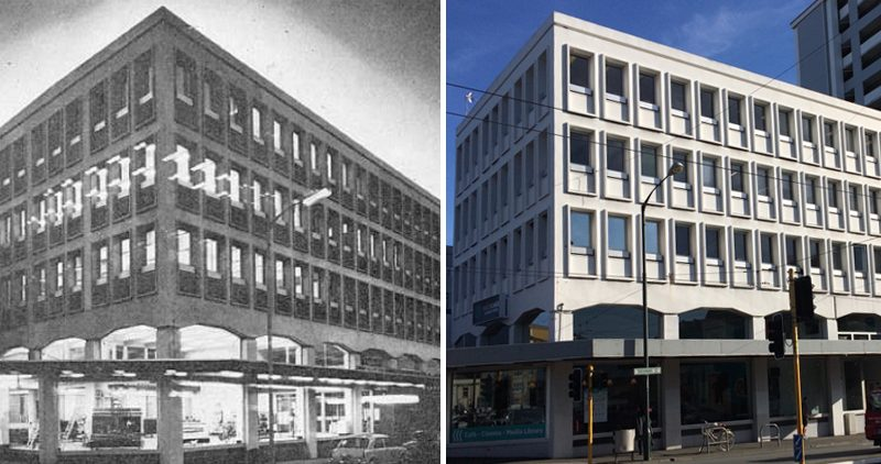 Comparison of Te Anakura building in 1970 and 2018