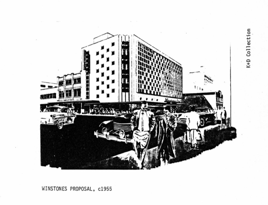 Black and white image of proposed building design