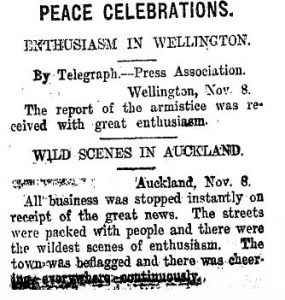 Taranaki Daily News, 8 November 1918