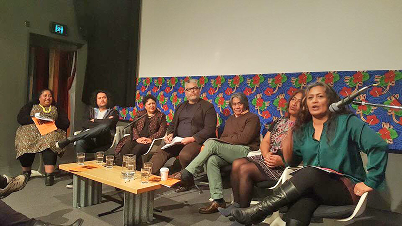 Pasifika filmmakers at the Moana Symposium – Whetu Fala, Tusi Tamasese, Karin Williams, Victor Rodger, Nathaniel Lees, Makerita Urale and Sima Urale. Photo by Mishelle Muagututi'a