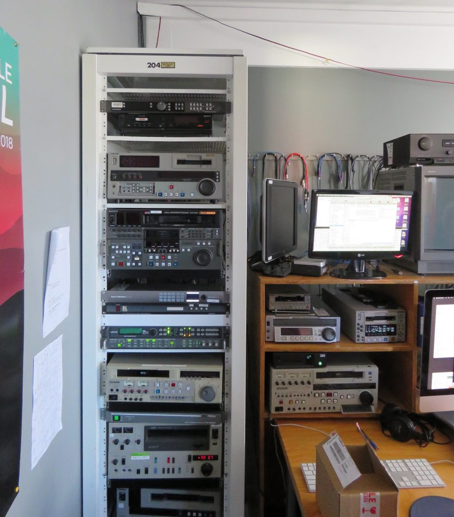 A rack of decks and servers for video capture