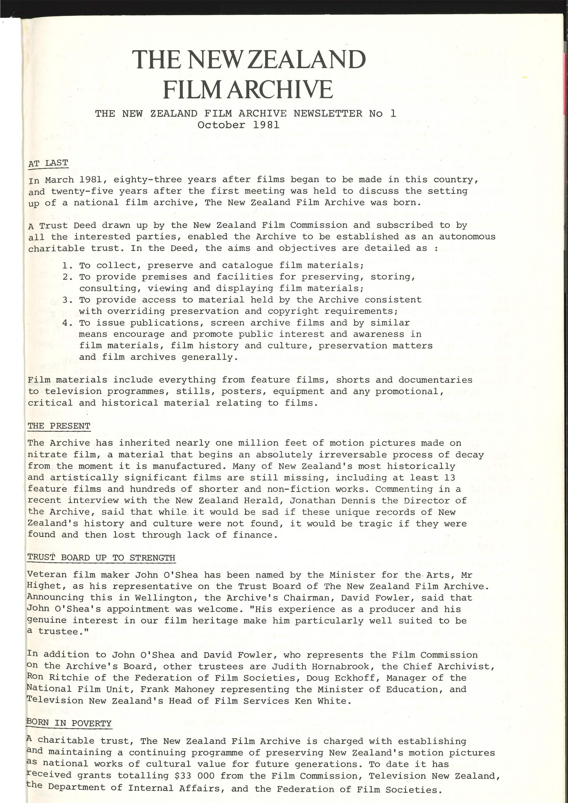 A typewritten newsletter